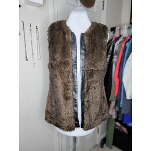 Sanctuary Faux Fur & Leather Vest | Medium